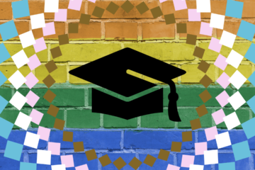 rainbow brick wall with a black mortarboard in the center. there are trans flag and philly pride flag colors included in the graphic.