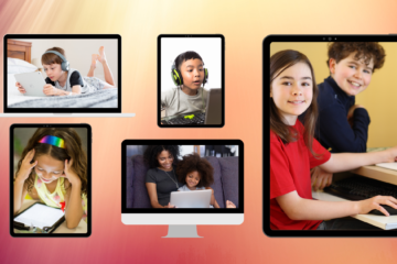 Five photos of children using tech devices